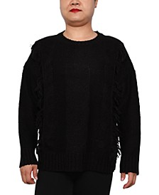 Trendy Plus Size Cable-Knit Crewneck Sweater