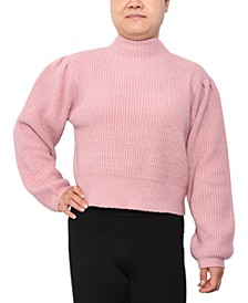 Trendy Plus Size Funnel-Neck Cropped Sweater