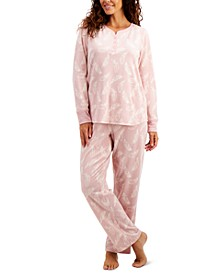Thermal Fleece Printed Pajama Set, Created for Macy's