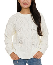 Juniors' Mixed-Knit Chenille Sweater