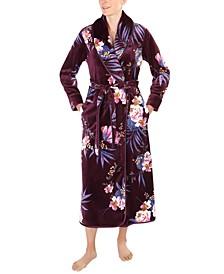 Floral-Print French Fleece Long Wrap Robe