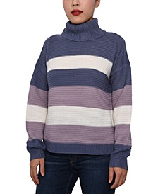 Juniors' Striped Cowl-Neck Sweater