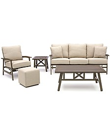 Kathan Outdoor 5-Pc. Seating Set (Sofa, Rocker Lounge Chair, Ottoman, Coffee Table & End Table) with Sunbrella® Cushions, Created for Macy's