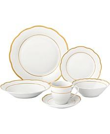 Porcelain 24 Piece Gloria Wavy Dinnerware Set, Service for 4