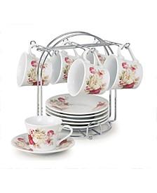 Floral Design 12 Piece 2oz Espresso Cup and Saucer Set, Service for 6