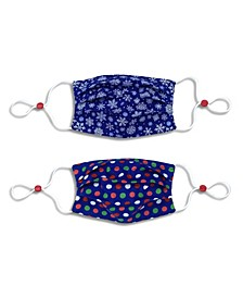 Kids Cotton Reversible Dot Pleated Face Mask, 2 Pack