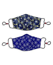 Adult Cotton Reversible Snowflake Cone Face Mask, 2 Pack