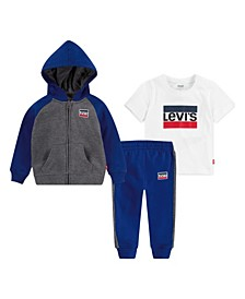 Toddler Boys T-shirt, Pant and Zip Hoodie Set