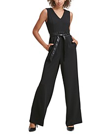Faux-Leather-Belt Jumpsuit