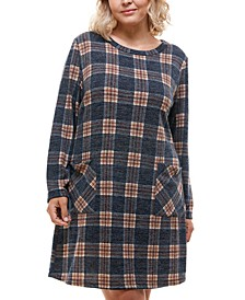 Trendy Plus Size Plaid Sweater Dress