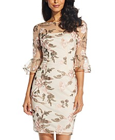 Floral-Embroidered Sheath Dress