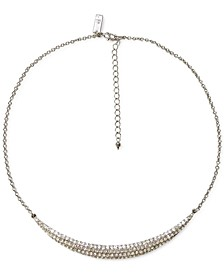 "INC Silver-Tone Pavé Curved Bar Collar Necklace, 18"" + 3"" extender, Created for Macy's"