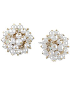 INC Gold-Tone Imitation Pearl Cluster Stud Earrings, Created for Macy's