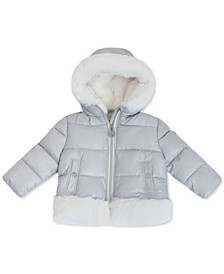 Baby Girls Puffer Coat with Faux-Fur Trim