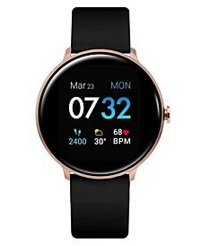 Women's Sport's Black Silicone Strap Smart Watch 43.2mm