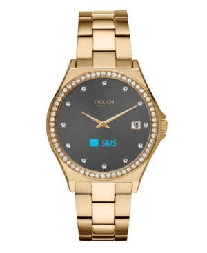 Connected Women's Hybrid Smartwatch Fitness Tracker: Crystal Case with Gold Metal Strap 32mm