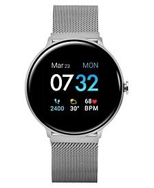 Men's Sport's Silver Tone Stainless Steel Mesh Strap Smart Watch 43.2mm