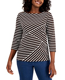 Petite Striped 3/4-Sleeve Top, Created for Macy's