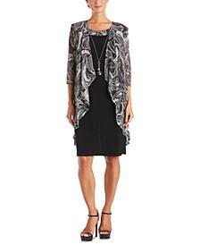 Petite Draped-Front Jacket & Necklace Dress