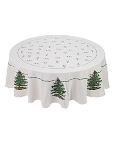 """Christmas Tree Ivory 70"""" Round Tablecloth"""