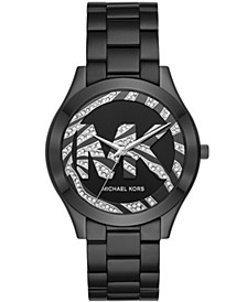 Women's Slim Runway Black Stainless Steel Bracelet Watch 42mm