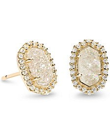 14k Gold-Plated Cubic Zirconia & Stone Stud Earrings