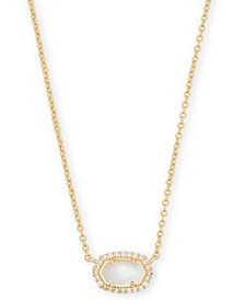 "14k Gold-Plated Cubic Zirconia & Mother-of-Pearl Pendant Necklace, 15"" + 2"" extender"