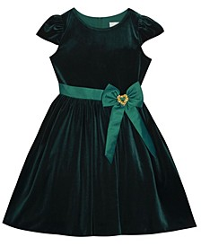Big Girl Velvet Dress With Taffeta Waistband And Bow