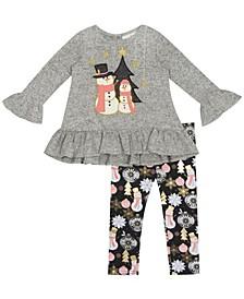 Toddler Girl Snowman Applique Hacchi Set