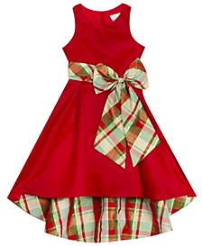 Big Girl Satin Hi-Low Dress With Plaid Bow And Lining
