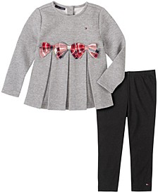 Little Girls 2 Piece Fleece with Plaid Bows Tunic and Legging Set