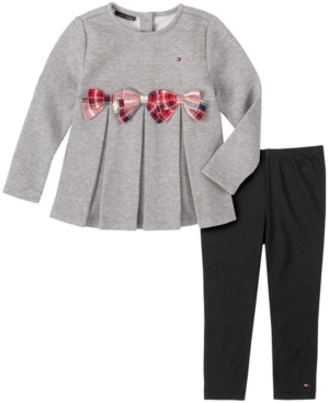 Tommy Hilfiger LITTLE GIRLS 2 PIECE FLEECE WITH PLAID BOWS TUNIC AND LEGGING SET