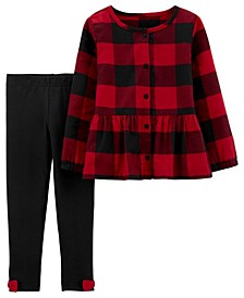 Baby Girl 2-Piece Plaid Twill Top & Legging Set