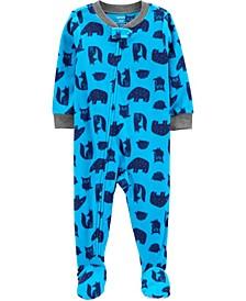 Toddler Boy 1-Piece Woodland Creatures Fleece Footie PJs