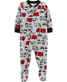 Toddler Boy 1-Piece Cars Fleece Footie PJs