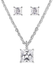 Silver-Tone Square Crystal Pendant Necklace & Stud Earrings Set, Created for Macy's