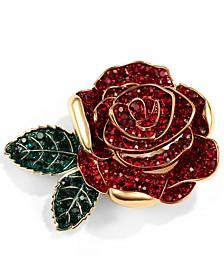 Gold-Tone Colored Crystal Rose Pin, Created for Macy's