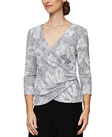 Metallic-Knit Printed Surplice Top
