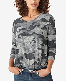 Hacci-Knit Camo-Print Top