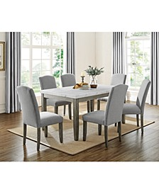 Emily Marble Dining 7-Pc Set ( Table & 6 Side Chairs)