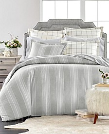 Modern Stripe Flannel Duvet Covers, Created for Macys