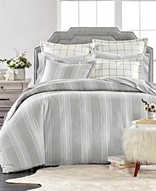Modern Stripe Flannel Full Queen Duvet Cover, Created for Macys
