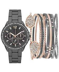 Women's Gunmetal-Tone Bracelet Watch 34mm Gift Set