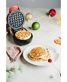 Mini Waffle Maker, Gingerbread Red