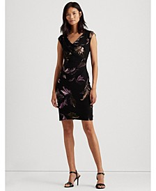 Print Pleated Jersey Dress