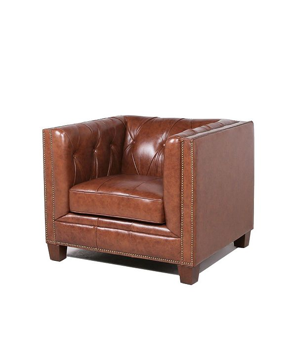 Nice Link Natlock Italian  Leather Chesterfield Armchair in Camel Brown