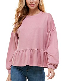 Juniors' Puff-Sleeved Peplum Top