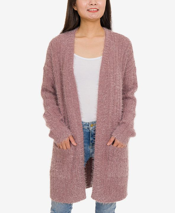 Hippie Rose Juniors' Fuzzy Cardigan