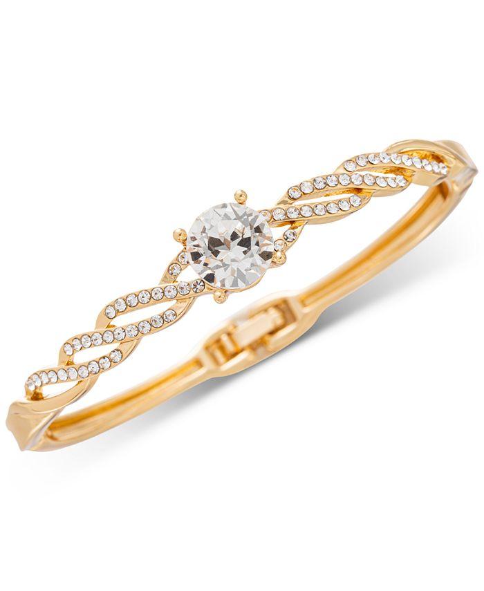 Charter Club - Gold-Tone Crystal Twist Hinge Bracelet
