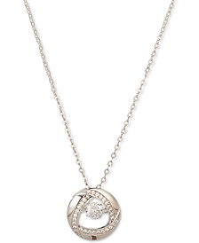 "Silver-Tone Dancing Crystal Circle Pendant Necklace, 17"" + 2"" extender, Created for Macy's"
